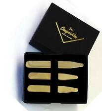 NEW Men's Brass Collar Shirt Stays Formal Boxed Set of 6 Tuxxman FREE SHIPPING