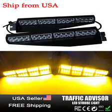 32 LED Car Emergency Warning Strobe Visor Mount Deck Dash Light Bar Amber Yellow