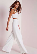 MISSGUIDED Wide Leg Crepe Trousers IVORY CREAM High Waist Dress Pants SIZE 8