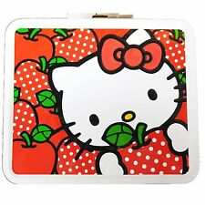 Hello Kitty Metal Lunchbox Collectible Polka Dot Apples Lunch Container Box