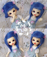 "New 5""-6"" 14cm BJD Blue Fabric Fur Wig For AE PukiFee Lati 1/8 Doll BJD Wig"