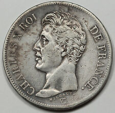 "France 1826 MA Charles X 5 Francs Silver Coin VF/XF ""Marseille Mint"" Scarce Date"