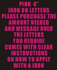 "10 4"" PINK IRON ON LETTERS & NUMBERS TRANSFER PRINTING"