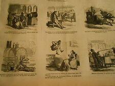 Vignettes 1867 Machine à Vapeur pour enlever la boue sur la voie caricature
