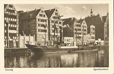 Danzig, Speicherinsel und Schiff, Dampfer, alte Ansichtskarte um 1930