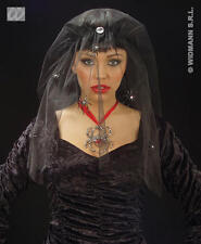 Scary Corpse Bride Vampiress Witch  Black Spider Veil Halloween Fancy Dress