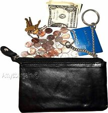 Leather Change Purse bag Ladies Wallet purse mini pocket zip coin case keyring