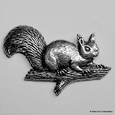 Red Squirrel on Branch Pewter Pin Brooch - British Hand Crafted - Grey, Nutkin