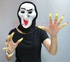 Halloween Costume Set Glow-in-the-dark Witch Finger Nail Tips and Mask 8808-1C