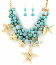 Sea Life Turquoise Beads Gold Starfish Shell Center Shell Pendant Necklace Set