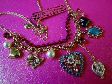 Betsey Johnson Floral Heart Necklace