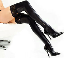 Womens Lady Girl Wet Look PU Leather Thigh High Stockings Lace Stay-Up Black