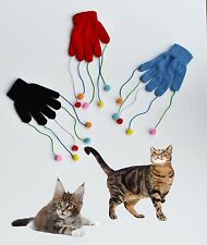 CAT KITTEN PLAY PET GLOVE TEASER TRICK PLAYING FUN TOY SCRATCH ACTIVITY MITT!