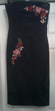 NEW Sz 8 Next Black With Red & Pink Floral embroidery Satin Bustier Wiggle dress