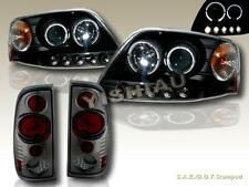 8/1997-2003 FORD F-150 PROJECTOR HEADLIGHTS BLACK TWIN HALO LED & TAIL LIGHTS SM