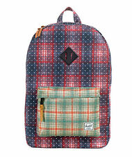 HERSCHEL SUPPLY CO HERITAGE 21L BACKPACK RUST/GREY PLAID MSRP $55 NEW w/TAG!!