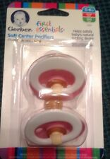 Gerber First Essentials 2 Pack Soft Center Latex Pacifier 0-6 MONTHS PINK COLOR