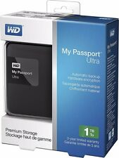 WD My Passport Ultra 1TB 3.0 USB Portable Hard Drive - Black