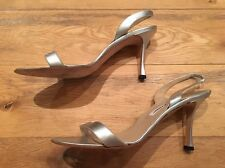 Manolo Blahnik Silver Leather Strappy Sandals EU 39.5 UK 6.5 US 9.5