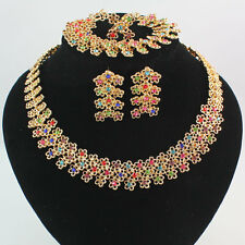 Women Gold Plated Colorful Rhinestone Necklace Earring Ring Wedding Party Set