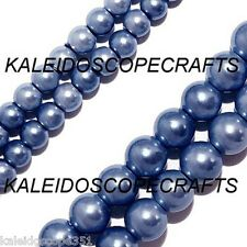 MAGNETIC HEMATITE BEADS  PEARLIZED PERIWINKLE BLUE 4MM ROUND MEDIUM BLUE COLOR