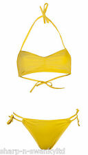 NEW Ladies Yellow Halterneck 2 Piece Bikini Tie Side Brief Set UK 8-10 EU 36-38