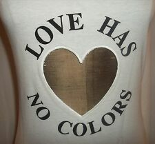 VINTAGE MOSCHINO Couture Womens White LOVE HAS NO COLORS Heart T-Shirt IT40/US6