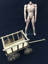Wooden Handcart with Four Wheels WWII Model Scene 1/6 for Action Figure Barrow