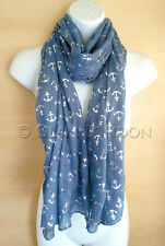 Anchor Scarf Glitter Silver Foil Printed Pirate Nautical Ladies Womens Soft Wrap