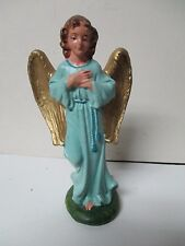 "Vintage Italy 7"" Tall Christmas Nativity Blue Standing Angel - Unusual Size"