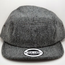 BLVCK LABEL NEW 5 PANEL GREY WOOL STRAPBACK CAMPER STYLE HAT CAP BLANK GRAY