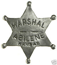 1 in HAT MARSHAL ABILENE OLD WEST PIN BADGE POLICE OBSOLETE MADE IN USA 09