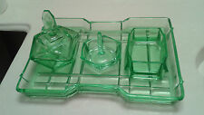 RARE GREEN VASOLINE DEPRESSION GLASS VANITY DRESSER SET