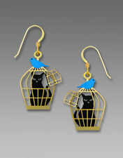 Sienna Sky CAT in BIRD Cage with Bluebird EARRINGS Etched Brass 1900 - Gift Box