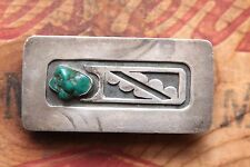 Vtg Small Native American Handmade Sterling Silver Turquoise Western Belt Buckle