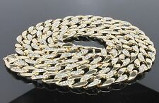 14K Gold Finished Mens Hip Hop Iced Out CZ Chain Rapper's Miami Cuban Link Chain