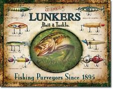 Lunkers Bait and Tackle ad TIN SIGN vtg fishing lure rustic metal decor 1757