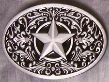Pewter Belt Buckle novelty Sculptured Star black NEW