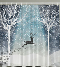 "LEAPING REINDEER SNOWFLAKES CHRISTMAS 70"" Fabric Bathroom Shower Curtain"