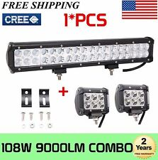 "17inch 108W Cree Led Light Bar Combo + 2X4"" 18W Work Pods Offroad Bumper SUV 4WD"