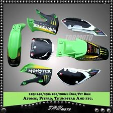 PIT BIKE 3M GRAPHICS KLX110 KLX 110 DECAL STICKER + GREEN WHITE PLASTIC KITS
