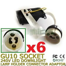 6 X GU10 240V LED Downlight Lamp Holder Socket Connector Adaptor Fixture Base