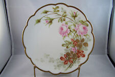 Limoges Flambeau France Hand Painted Rose Motif Artist Signed Plate