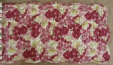 "LULA BELLE Quilted Table Runner 42"" - Flowers - Rose, Wine, Green, Gold Cream"