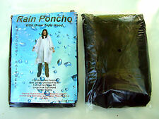 2x WATERPROOF PONCHOS HOODED HOODY PLASTIC BLACK DISPOSABLE EMERGENCY RAINCOAT