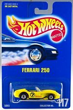Hot Wheels No. 117 Classic Ferrari 250 Yellow w/Black Pipes BW's 1992 MOC
