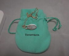 VTG TIFFANY & CO RETURN TO TIFFANY STERLING SILVER NECKLACE OVAL TAG  E13