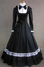 Black Long Sleeve Cotton Bow Gothic Fancy Lolita Dress Cosplay Party Costume