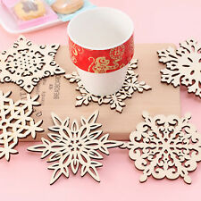 Retro Hollow Wooden Carved Snowflower Coasters Cup Mat Insulation Heat Craft Pad