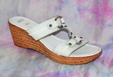 M&S Size 6 Uk /39 EU White Leather T Bar Cork Wedge Strappy Sandals *VGC & Clean